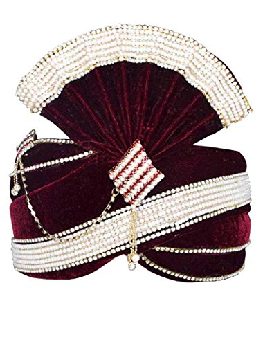 INMONARCH Mens Alluring Velvet Turban Pagari Safa Groom Hats TU1066 23-Inch Maroon by INMONARCH