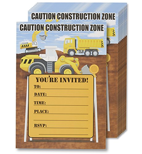 Construction Trucks Invitation Cards - 24 Fill-in Invites with Envelopes for Kids Birthday Bash and Theme Party, 5 x 7 Inches, Postcard Style