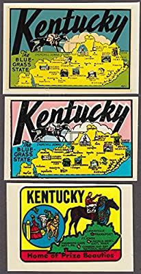 KENTUCKY three different decals 1940s-1960s Blue Grass State Prize Beauties