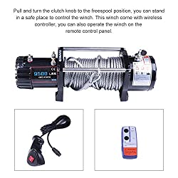 LSAILON Heavy-Duty ATV UTV Bumper Winch Kits, 12V 9500 LBS Synthetic Rope Electric Winch Off-Road Recovery Self-Rescue