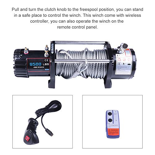 LSAILON Heavy-Duty ATV UTV Bumper Winch Kits, 12V 9500 LBS Synthetic Rope Electric Winch Off-Road Recovery Self-Rescue ()