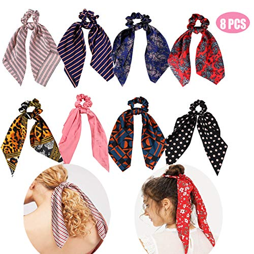 Stain Scrunchies for Hair,8 Pcs Hair Ties Bow with Hair Ribbon Hair Bands, 2-in-1 Hair Ponytail Holder with Hair Scarf Ropes for Women Girls (Bohemia,Stripped,Navy Dot,Pink,Leopard Print,Geometrics)