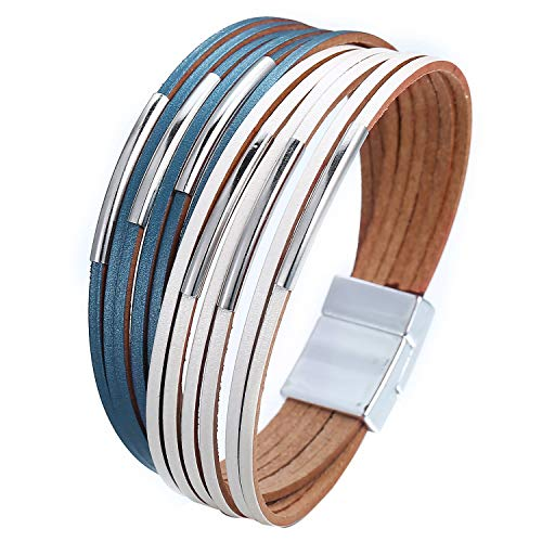 FINETOO White and Blue Wrap Bracelet Multi-Layer Leather Bead Stand Bracelet with Alloy Magnetic Clasp Boho Jewelry for Women
