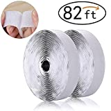 Self Adhesive Hook and Loop Fastening Tape, Denshine 82 Feet Self Adhesive Hook and Loop Back Tape Hook and Loop Strips 82 Feet/Roll Super Long, 0.8 inch (White)
