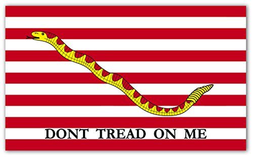 (Don't Tread on Me First Navy Jack Flag Snake Bumper Sticker Decal 3x5 in)