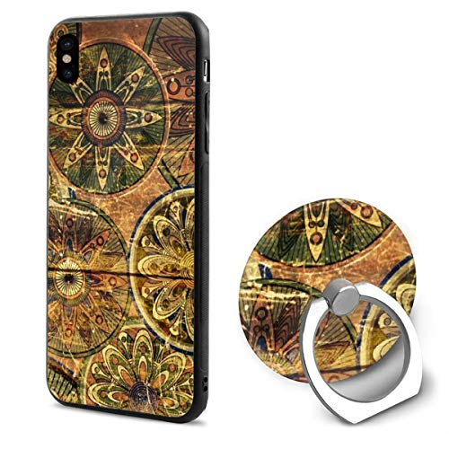 Barton Apple iPhone Xs Case/iPhone X Case + Finger Ring Stand Holder 360 Degree Rotating Combo Set - Flowers Texture