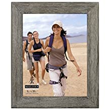 Malden Rustic Fashion Wide Linear Wooden Picture Frame, 8-Inch X 10-Inch, Gray