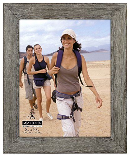 Malden International Designs Rustic Fashion Wide Linear Graywash Wooden Picture Frame, 8x10, Gray