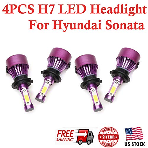 - H7 LED Headlight Bulbs Conversion Kit for Hyundai Sonata 2011 2012 2013 2014 - High Low Beam 6000K Cool White 200W Total 20000LM Super Bright - 2 Yr Warranty (Set of 4)