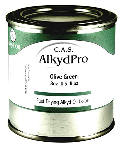 C.A.S. Paints AlkydPro Fast-Drying Oil Color Paint Can, 8-Ounce, Olive Green