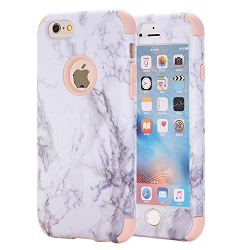 Pattern White Case (iPhone 6S Case, iPhone 6 Case, KAMII White Marble Stone Pattern Shockproof 2in1 Dual Layer TPU Bumper Hard PC Hybrid Defender Armor Case Cover for Apple iPhone 6/ 6S 4.7inch (Rose Gold))