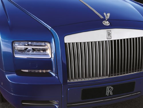 Rolls-Royce Phantom Coupé Series II (2013) Car Art Poster Print on 10 mil Archival Satin Paper Blue Front Grill Closeup Static View 36