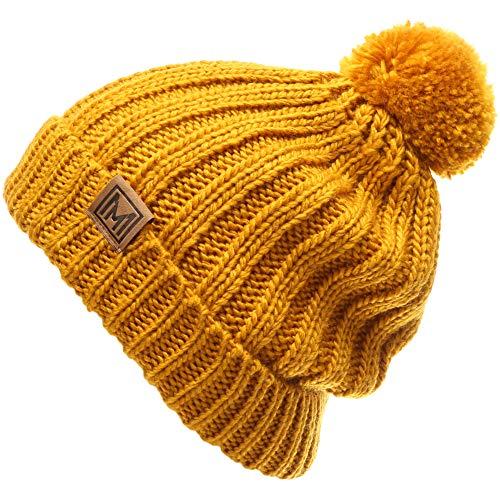 (MIRMARU Women's Oversized Chunky Soft Warm Rib Knit Pom Pom Beanie Hat with Sherpa Lined (Mustard))