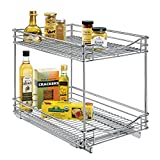 Lynk Professional Slide Out Double Shelf - Pull Out Two Tier Sliding Under Cabinet Organizer - 14 inch wide x 18 inch deep - Chrome - Multiple Sizes Available