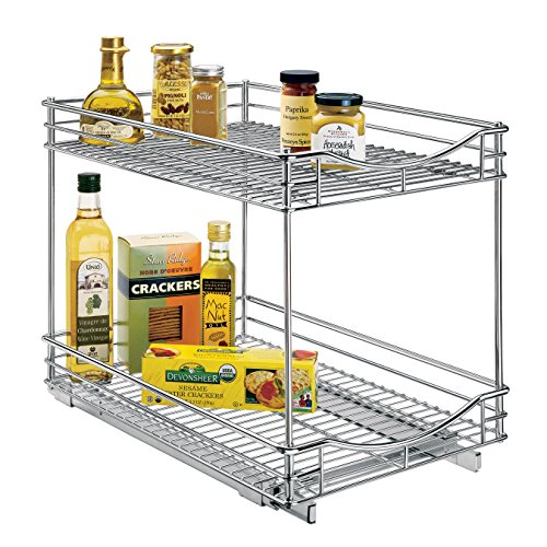 Lynk Professional Slide Out Double Shelf - Pull Out Two Tier Sliding Under Cabinet Organizer - 14 inch wide x 21 inch deep - Chrome -Multiple Sizes (Kitchen Cabinet Pull Out Shelves)
