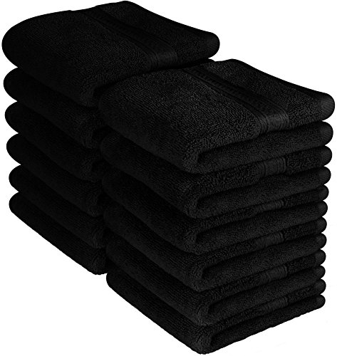 Utopia Towels Premium 700 GSM Washcloths Towel Set (12 Pack, Black, 12x12 Inches) Multi-purpose Extra Soft Fingertip towels, Highly Absorbent Face Cloths, Machine Washable Sport, and Workout Towels