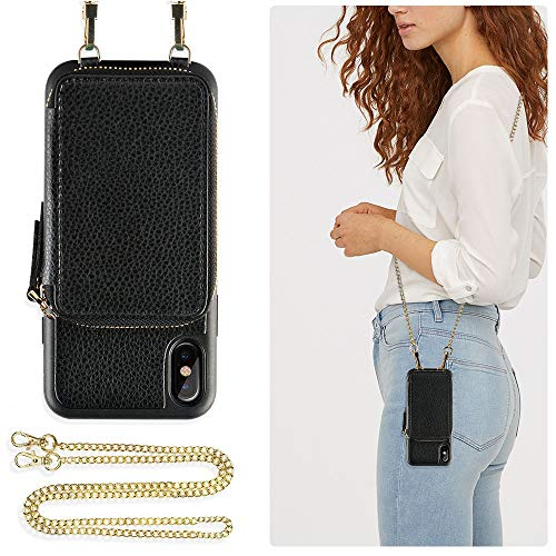 Phone Chain - ZVE Case for Apple iPhone Xs and X, 5.8 inch, Wallet Case with Crossbody Chain Credit Card Holder Slot Zipper Shoulder Handbag Purse Wrist Strap Case Cover for Apple iPhone X and XS - Black