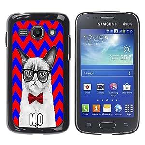 - Chevron Grumpy Cat - - Fashion Dream Catcher Design Hard Plastic Protective Case Cover FOR Samsung Galaxy Ace 3 Retro Candy