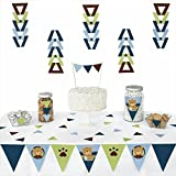 Big Dot of Happiness Baby Boy Teddy Bear - Triangle Baby Shower Decoration Kit -72 Piece