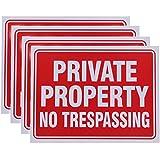 Vanitek 4 Pack Private Property No Trespassing Sign 9 x 12 Inch