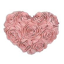 JW 3D Heart Rose Flower Faux Wool Decorative Throw Pillow Home Bed Sofa Couch Wedding Car Decor Handmade Cushion (Pink)