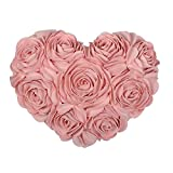 JWH 3D Handmade Rose Flowers Accent Pillows Decorative Suede Heart Shape Cushions Home Couch Bed Living Room Office Chair Car Decor Travel Lover Girls Gifts 13 x 16 Inch Pink
