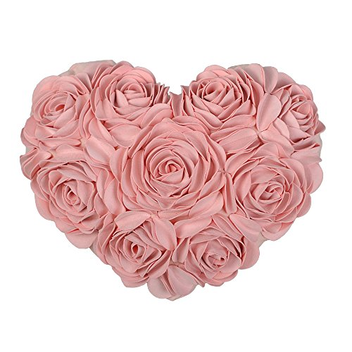 Suede Floral Pillow (JW Handmade 3D Rose Flowers Accent Pillows Heart Shaped Solid Suede Decorative Cushions for Home Sofa Bed Car Wedding Decor Pink)