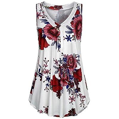 UOFOCO Summer T Shirt Women Blouse Printed Tank Button Crop Top Short Sleeveless Top