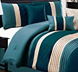 Modern 7 Piece Bedding TEAL BLUE, BEIGE Pin Tuck Embossed King Comforter Set ...