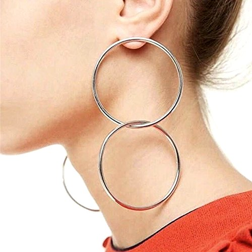 QTMY Statement Big Large Hoop Earrings for Women Stainless Steel Double Round Circles (Silver)