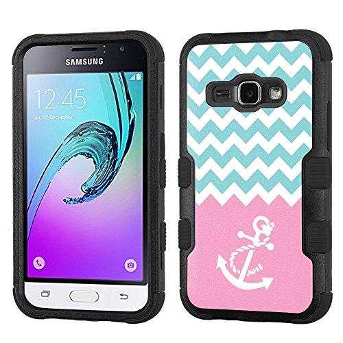 One Tough Shield ® 3-Layer Hybrid phone Case (Black/Black) for Samsung Galaxy J1 (2016) / Galaxy Express 3 / Galaxy AMP 2 - (Chevron/Teal/Anchor)