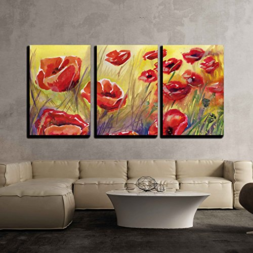 "Wall26 - 3 Piece Canvas Wall Art - Poppies, Flowers, - Modern Home Decor Stretched and Framed Ready to Hang - 24""x36\""x3 Panels"