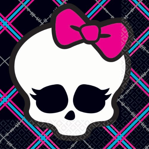 Monster High Lunch Napkins (Amscan Freaky Fab Monster High Plaid (16 Piece), Black/Hot Pink/Cyan/White/Grey, 5 x 5
