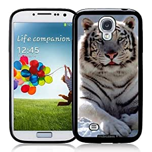 Cool Painting White Bengal Tiger - Protective Designer BLACK Case - Fits Samsung Galaxy S4 i9500