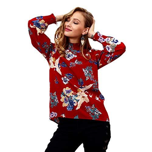 A Donna Floreale Camicia Da Chiffon Con Casual Jahurto Alto Collo In Red Stampa BRCxq
