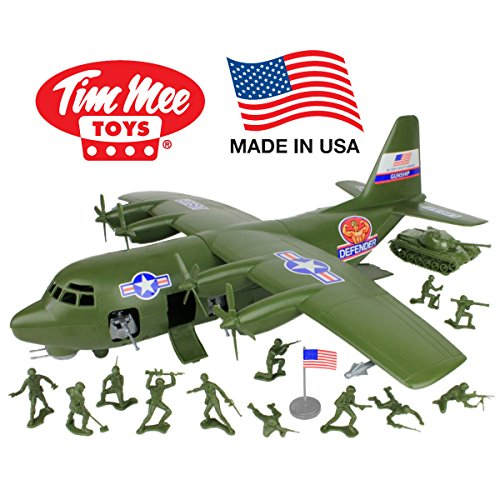 TimMee Plastic Army Men C130 Playset: 27pc Giant Military Airplane - Made in USA