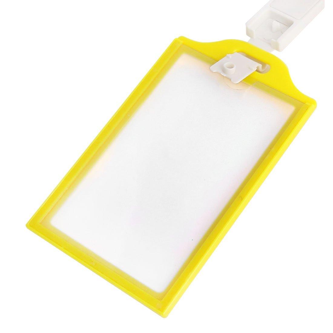 DealMux Plastic Rim Vertical Office School Badge ID Card Holder 10 Pcs Yellow Clear