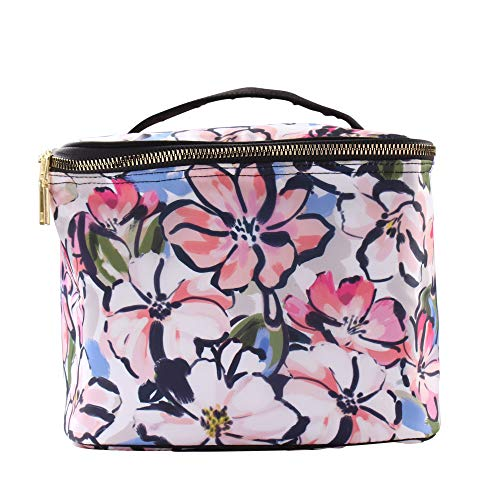 Sheffield Home Reusable Insulated Soft Rectangle Lunch Box/Tote with Zipper for Woman and Teens (Floral Print with Black Handles) ()