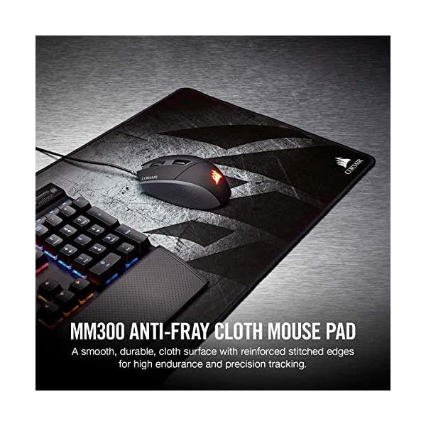 Corsair MM300 - Anti-Fray Cloth Gaming Mouse Pad - High-Performance Mouse Pad Optimized for Gaming Sensors - Designed…