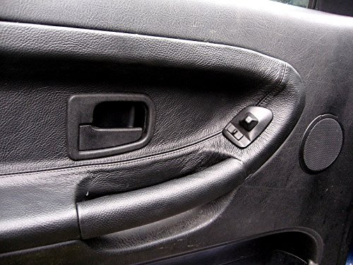 Front Compatible with BMW 3-Series E36 1990-98 Black Leather-Black Thread RedlineGoods Door Insert Covers