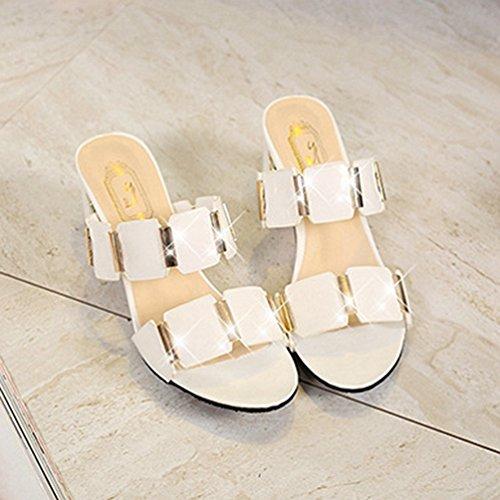 Glisse Pantoufles Sandales Plate Blanc Talons de Bas imperméables d'été pour épais Glissade Femmes de sans à Forme 01wq15