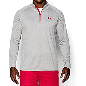 Under Armour Men's Tech 1/4 Zip, True Gray Heather/Red, Large