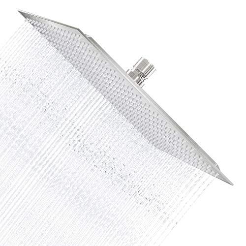 Derpras 16 Inch Square Rain Shower Head, 304 Stainless Steel, Ultra Thin High Pressure Bathroom Rainfall Showerhead  Brushed Nickel   324 Jets