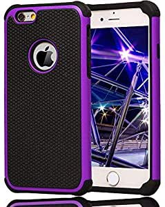 Hybrid Shockproof DirtProof Rugged Rubber Hard Cover Case for Apple iPhone 6 S 6G 4.7 inch/Purple color
