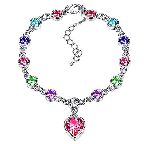 Love Heart Ocean Blue Crystal Bracelet for Women and Teens Sapphire Birthstone Charm Eternal Love Bangle (Colorful Birthstone)