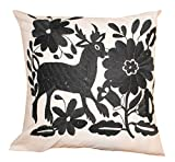 Del Mex Hand Embroidered OTOMI Throw Pillow Cover 18'' by 18'' Mexican (Black)