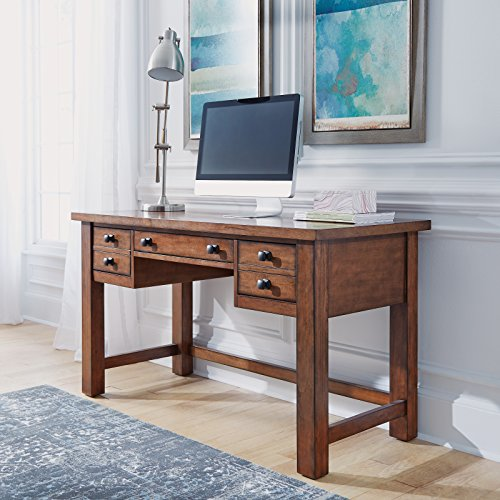 Tahoe Aged Maple Executive Writing Desk by Home - Drop Down Drawers