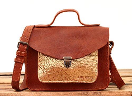 MADEMOISELLE GEORGE Marrone Naturale / Dorato piccola borsa in pelle stile vintage PAUL MARIUS