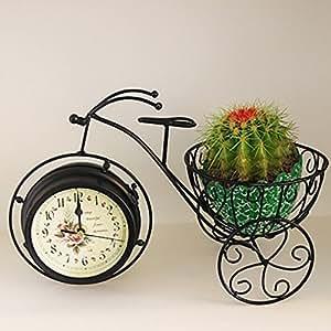 yzghdc Creative flor estante doble cara reloj hierro flor accesorio de hogar decoración bicicleta modelo florero de suelo accesorio de estilo europeo simples flores marco