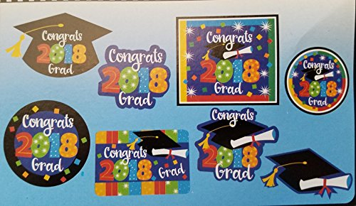 2018 Graduation Party Decorations Bundle: Accessories Include Congrats 2018 Grad Party Banner, Table Centerpiece, Cutouts, and a Beachball in a Confetti Design by TLP Party (Image #4)